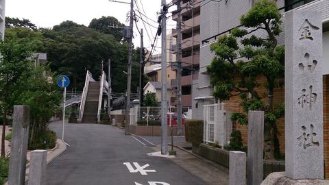 【松戸】跨線橋が参道…金山神社にある無用階段のトマソンと富士塚